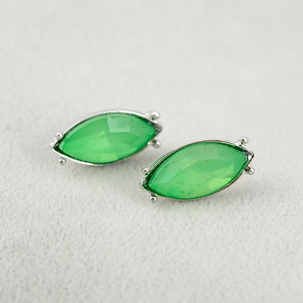ต่างหูคริสตัล แฟชั่นทองคำขาว14Kหรูคู่โอปอลสีเขียวสวย CZ White Gold Earrings นำเข้า - พร้อมส่งW578 ราคา350บาท