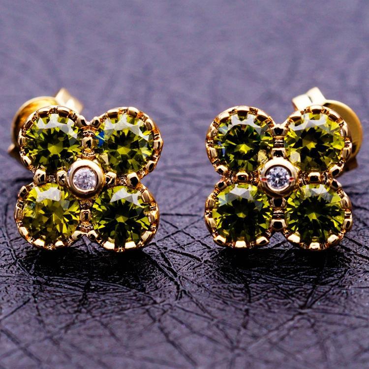 ต่างหูเพชร แฟชั่นเกาหลีประดับคริสตัลทองคำ CZ Gold Earrings นำเข้า สีเขียว - พร้อมส่งW607 ราคา450บาท