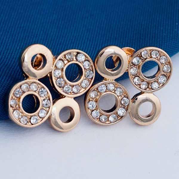 ต่างหูคริสตัล รูปวงกลมสี่วงงดงามแฟชั่นเกาหลีสวย CZ 18K Gold Earrings นำเข้า สีทอง - พร้อมส่งW641 ราคา300บาท