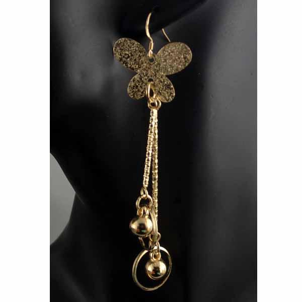 ต่างหูระย้า แฟชั่นเกาหลีผีเสื้อแต่งตุ้งติ้งสวยหรู 18K Drop Dangle Earrings นำเข้า สีทอง - พร้อมส่งW647 ราคา300บาท