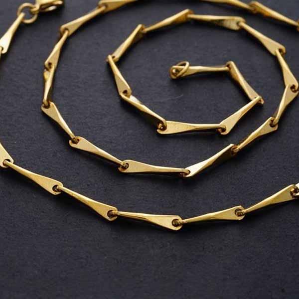 สร้อยคอแฟชั่น เส้นเล็กดีไซน์กราฟิกแบบสายโซ่ทองต่อกัน 24K Gold Necklace นำเข้า สีทอง - พร้อมส่งW655 ราคา300บาท