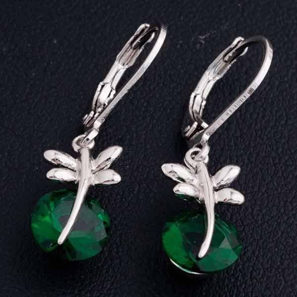 ต่างหูเพชร แฟชั่นเกาหลีประดับเพชรสวิสมรกต CZ White Gold Earrings นำเข้า สีเขียว - พร้อมส่งW659 ราคา300บาท