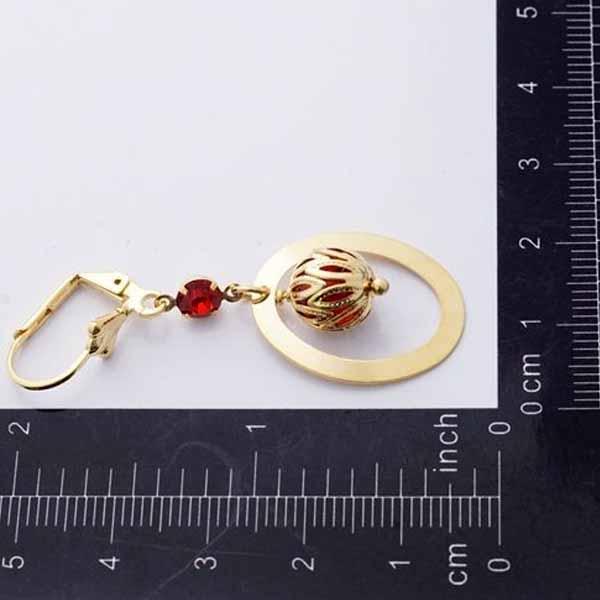 ต่างหูระย้า แฟชั่นเกาหลีประดับคริสตัลสีแดงห่วงล็อค 24K Drop Tassel Earrings นำเข้า สีทอง - พร้อมส่งW663 ราคา300บาท