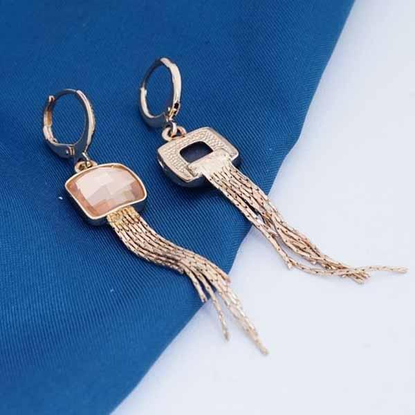 ต่างหูระย้า แฟชั่นเกาหลีประดับคริสตัลตุ้งติ้งสวยหรู  18K Drop Tassel Earrings นำเข้า สีแชมเปญ - พร้อมส่งW673 ราคา300บาท