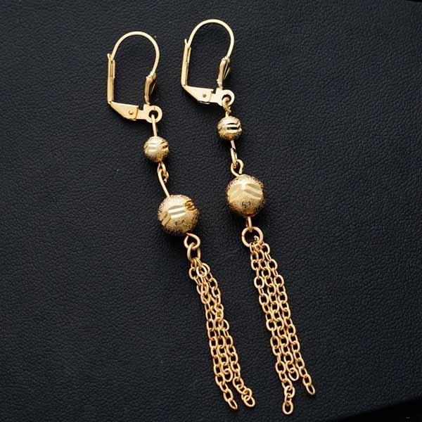 ต่างหูระย้า แฟชั่นเกาหลีประดับคริสตัลบอลตุ้งติ้งสวยหรู 24K Drop Tassel Earrings นำเข้า สีทอง - พร้อมส่งW682 ราคา300บาท