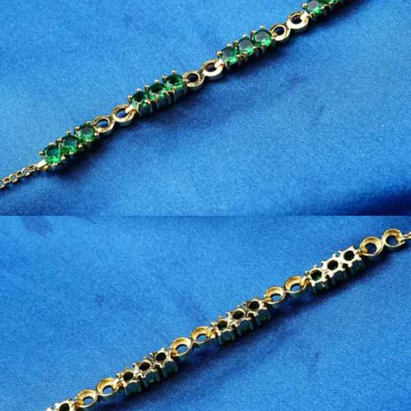 กำไลข้อมือ แฟชั่นเกาหลีสร้อยคริสตัลทองคำสวยน่ารักใหม่ 18K Gold Bracelet นำเข้า สีเขียว - พร้อมส่งW685 ราคา550บาท