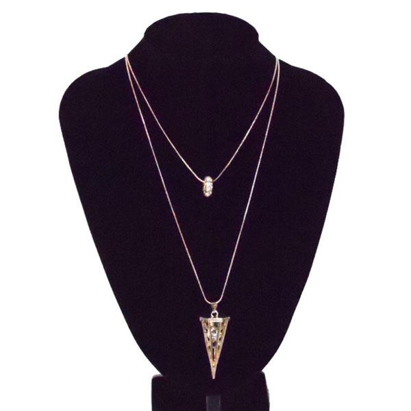 สร้อยคอแฟชั่น เส้นเล็กยาวระย้า2ชั้นจี้เหรียญทรงกลม 2 Chain Necklace นำเข้า สีทอง - พร้อมส่งW716 ราคา300บาท