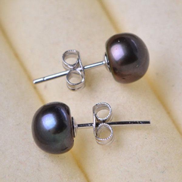 ต่างหูมุกน้ำจืดแท้ ขนาด8.5mm สวยหรูหราก้านเงินแท้925 Genuine Pearl Earrings นำเข้า สีดำ - พร้อมส่งW717 ราคา750บาท