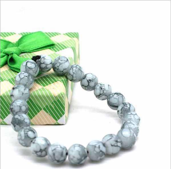 กำไลหินนำโชค สร้อยข้อมือหินสีขาวโฮวไลท์ Howlite Bracelet เสริมความจำมีสมาธิ - พร้อมส่งW783 ราคา350บาท