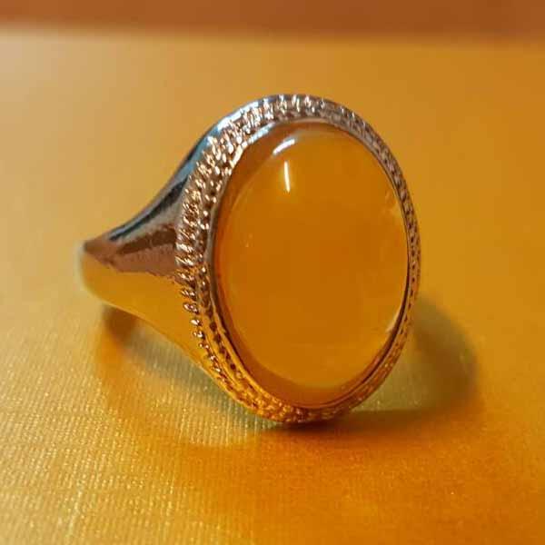 แหวนเงินพลอยสีเหลือง นำโชคประดับหญิงและชาย size 7 Silver Amber Ring นำเข้า - พร้อมส่งW799 ราคา450บาท