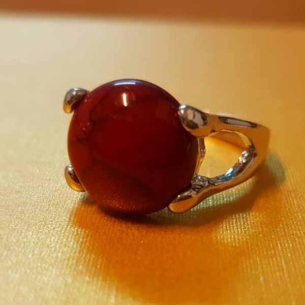 แหวนเงินหินสีแดง นำโชคประดับหญิงและชาย size 6 Silver Gemstone Ring นำเข้า - พร้อมส่งW824 ราคา450บาท