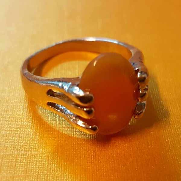 แหวนเงินสีเหลือง นำโชคประดับหญิงและชาย size 7 Silver Stone Ring นำเข้า - พร้อมส่งW827 ราคา450บาท