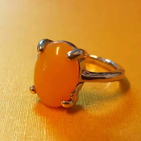 แหวนเงินหินสีเหลือง นำโชคประดับหญิงและชาย size 6 Silver Stone Ring นำเข้า - พร้อมส่งW830 ราคา450บาท