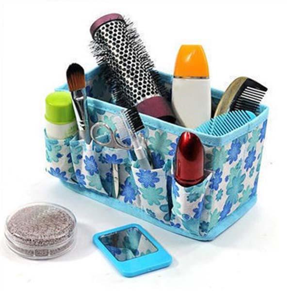 กล่องใส่ของ ทีใส่เครื่องสำอางค์ลายดอก Makeup Cosmetic Storage Box รุ่นใหม่ นำเข้า สีฟ้า - พร้อมส่งW835 ราคา99บาท