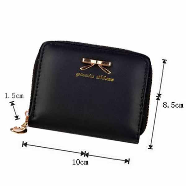 กระเป๋าสตางค์ใบสั้นผู้หญิง แฟชั่นเกาหลีแต่งโบว์ใส่บัตรและเหรียญซิปรอบน่ารัก นำเข้า สีดำ - พร้อมส่งW898 ราคา150บาท