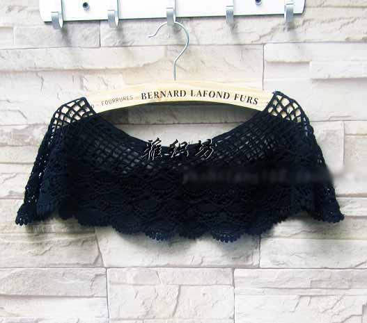 ผ้าคลุมไหล่ ชุดราตรีแฟชั่นเกาหลี คอตตอนถักลายก้นหอยสวยหรูหรา สีดำ - พร้อมส่ง