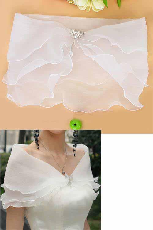 ผ้าคลุมไหล่ ผ้าแก้วสำหรับชุดแต่งงานและราตรีแฟชั่นเกาหลีสีขาวสวยหรูหรา - พร้อมส่งYA010 ราคา350บาท