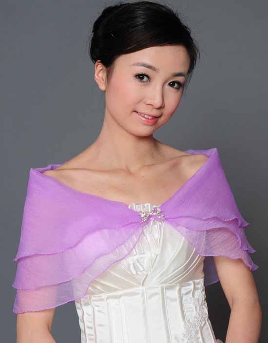 ผ้าคลุมไหล่ ผ้าแก้วสำหรับชุดแต่งงานและราตรีแฟชั่นเกาหลีสีม่วงสวยหรูหรา - พร้อมส่งYA010 ราคา400บาท