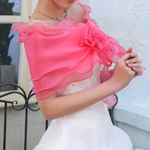 ผ้าคลุมไหล่ ผ้าแก้วสำหรับชุดแต่งงานและราตรีแฟชั่นเกาหลีสีชมพูสวยหรูหรา - พร้อมส่งYA011 ราคา400บาท