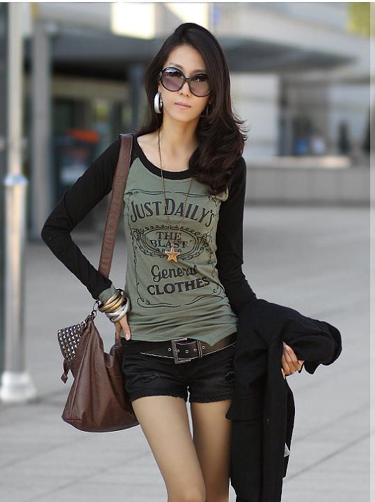 เสื้อยืด แฟชั่นเกาหลีผู้หญิงแขนยาวสไตล์วินเทจ นำเข้า ฟรีไซส์ - พร้อมส่ง